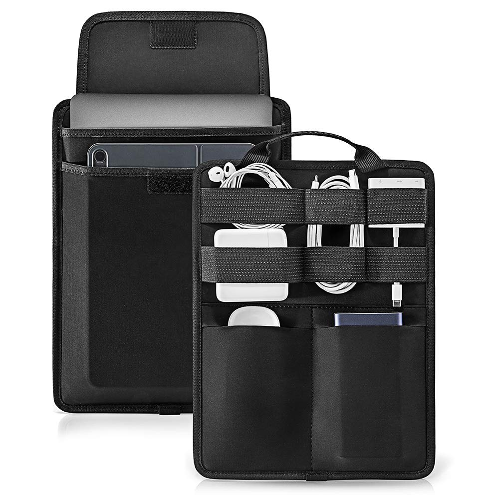 tomtoc Electronic Accessory Organizer Panel for Cable Hard Drive USB Hub Power Bank, Tech Gear Management Sleeve for 13-inch New MacBook Air & Pro, Surface Pro 6/5/4, 9.7-11 Inch iPad by tomtoc