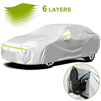 2 Layer Heavy Duty Waterproof Car Cover Cotton Lining Scratch Proof Large Size