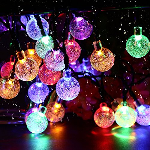 Solar String Lights, 19.7feet 40 LED Crystal Ball Fairy Lights with 8 Modes, Outdoor Waterproof Solar Powered Lights for Patio, Garden, Lawn, Path, Party and Home Decorations, Multi Color - Multi String Lights