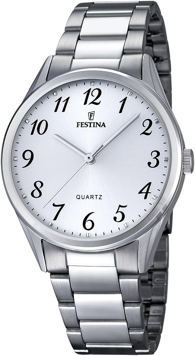 Festina–Reloj con Mecanismo de Cuarzo para Hombre Color Blanco Esfera analógica Pantalla y Plata Pulsera de Acero Inoxidable F16875/1