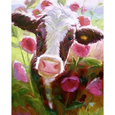 Paint by Number Kits - Cow in Flowers 16x20 Inch Linen Canvas Paintworks - Digital Oil Painting Canvas Kits for Adults Children Kids Decorations Gifts (No Frame): Toys & Games