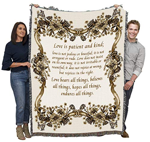 Pure Country Weavers - Love is Patient Love is Kind Wedding Toupe Woven Large Soft Comforting Throw Blanket with Artistic Textured Design Cotton USA 72x54