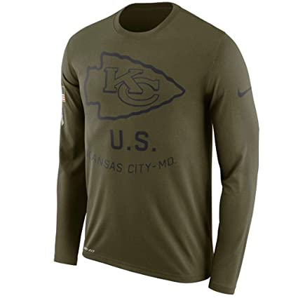 552d62e50 Kansas City Chiefs 2018 NFL Salute to Service Men s Olive STS Long Sleeve  (Medium)