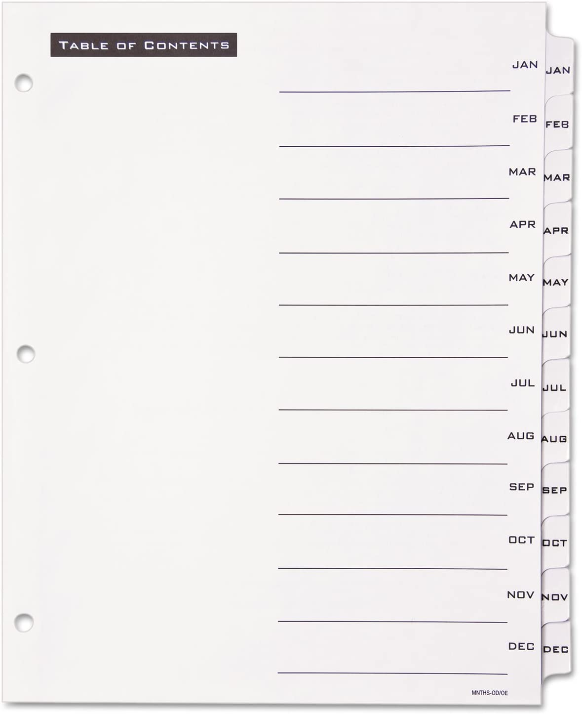 Avery Table 'N Tabs Monthly Dividers, White