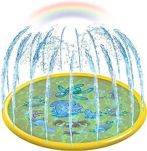 "econoLED Sprinkler Pad,Splash Play Wading Pool 68"" Sprinkle Summer Outdoor Party Water Toys Splash Play Mat Inflatable Water Toys Swimming Pool for 1-14 Years Old Toddlers Baby Kids Children(Yellow)"