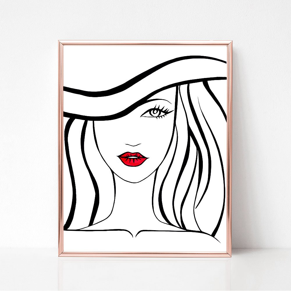 Unframed Black, White, and Red Lips Fashion Illustration Art Print