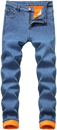 GUOCAI Men's Winter Fleece Lined Slim Fit Thick Straight Leg Demim Pants