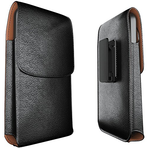 Meilib Pixel 2 XL Belt Clip Case - Leather Holster Pouch with Belt Holder, Universal Google Pixel Phone Sleeve (Works w/Slim Thin Cover on), Black