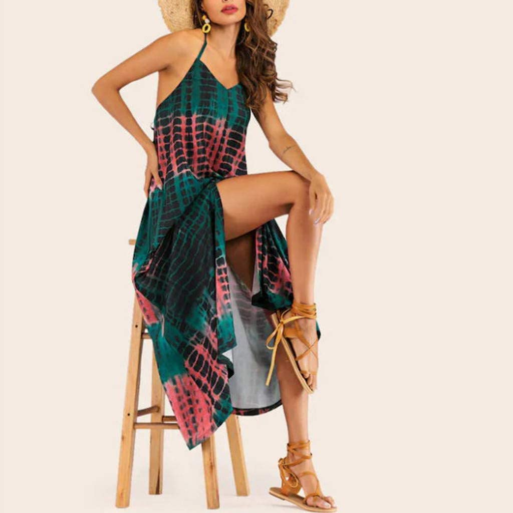 Womens Summer Casual Floral Printed Bohemian Strap Floral Backless Long Maxi Split Dress