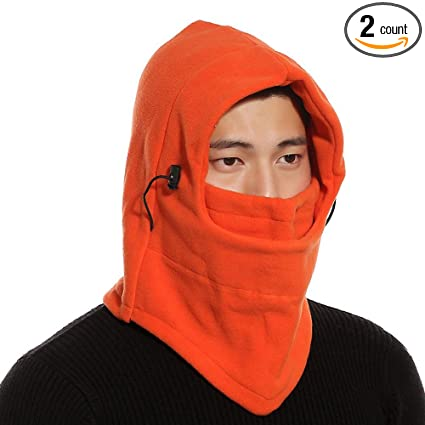 71f20c4f9a6 2 Pack Fleece Winter Hat- Full Face Mask -Balaclava CS Mask Windproof  Hooded Scarf