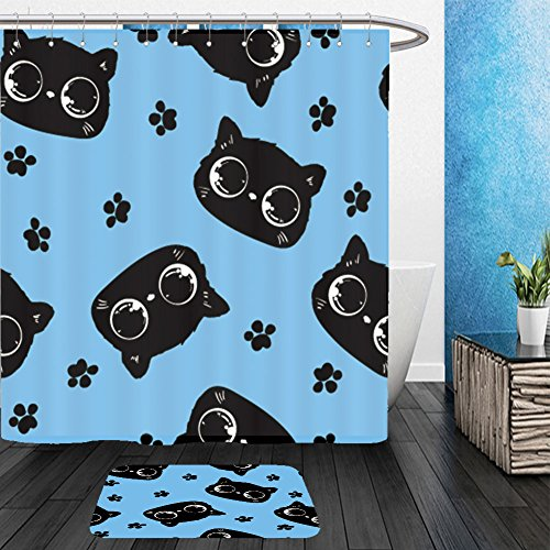 Vanfan Bathroom 2 Suits 1 Shower Curtains & 1 Floor Mats Beautiful packaging design with a cats pattern. cat with bright eyes, a cute kitten vector image background wallpaper From Bath - Eye Cat Rihanna