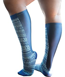 b587bf9d3c Xpandasox Women's Plus Size/Wide Calf Navy Blue/Grey Knee High Socks