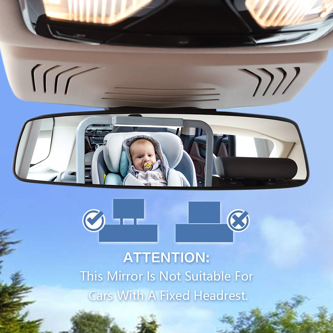 Innokids Dual Mode LED Lighting by Remote Control Black Baby Car Mirror with Light Clear View of Infant in Rear Facing Back Seat While Night Driving