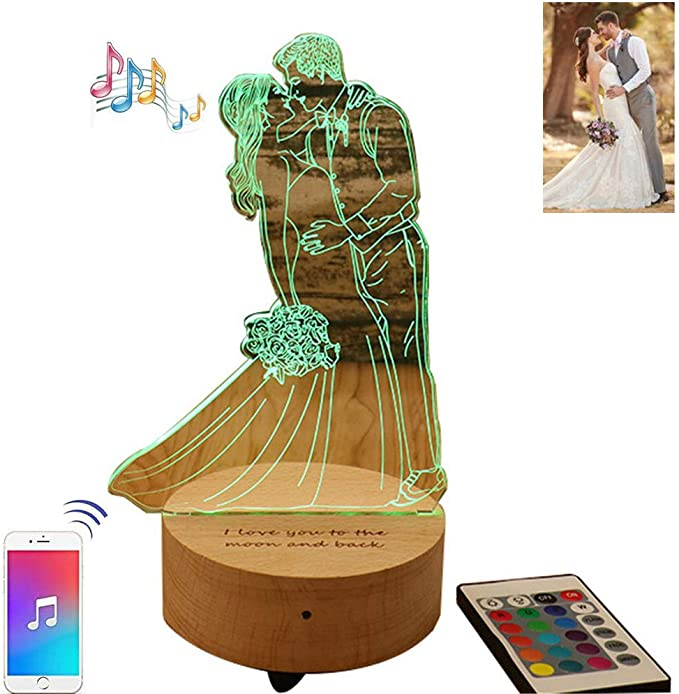 Y.Verve Personalidad Foto música Caja Lámpara de Mesa 3D pequeña Noche luz Madera Base táctil acrílico LED lámpara USB de Madera Maciza: Amazon.es: Hogar