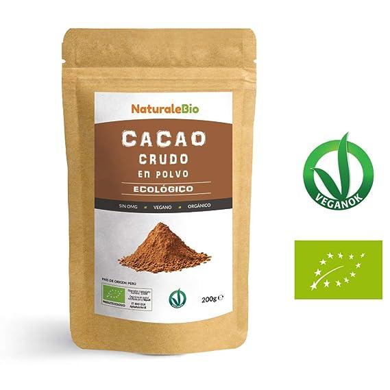 Cacao crudo Ecológico en Polvo 200g | Organic Raw Cacao Powder | 100% Bio, Natural y Puro | Producido en Perú a partir de la planta Theobroma Cacao ...