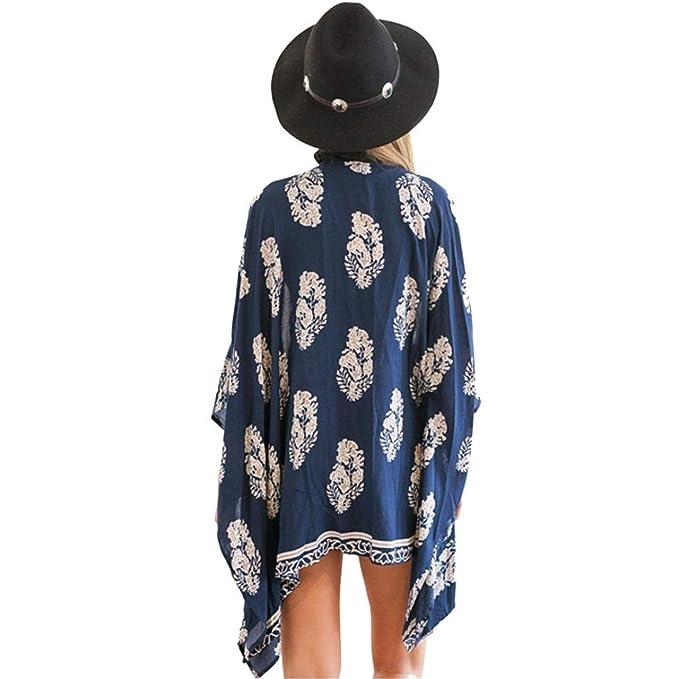 DEELIN Blusa Estampada Kimono Cardigan De Moda De Las Mujeres Tops Beach Cover Blue: Amazon.es: Ropa y accesorios
