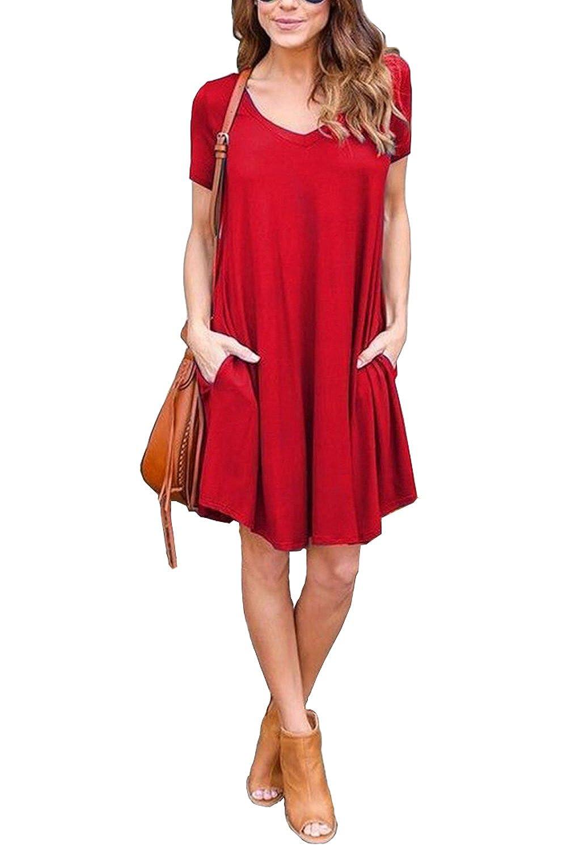 Amstt Women's Short/Long Sleeve Pocket Casual Loose Swing T-Shirt Dress