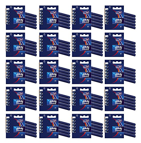 100x Gillette Blue II Disposable Razors Dual Blades Plus Chromium Coating 5pk x 20 by Gillette