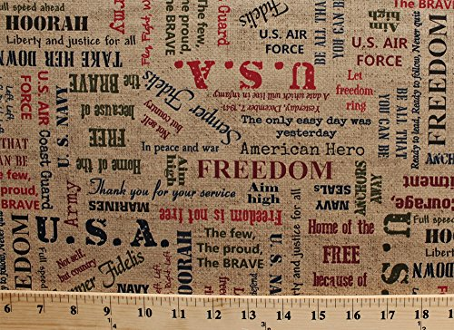 Cotton Because Of The Brave Burlap Multi Words Usa Cotton Fabric Print By The Yard  32950 11