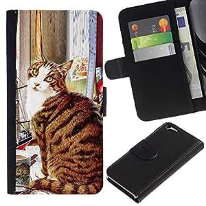 American Shorthair Cat Sitting Art - la tarjeta de Crédito Slots PU Funda de cuero Monedero caso cubierta de piel Apple (4.7 inches!!!) iPhone 6 / 6S