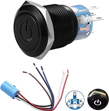 Amazon Com Quentacy 19mm 3 4 Latching Pushbutton Switch 12v Power Symbol Led 1no1nc Spdt On Off Black Metal Waterproof Toggle Switch With Wire Socket Plug White Automotive
