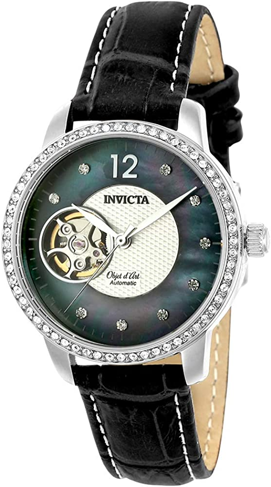 Invicta Women s Objet D Art Stainless Steel Automatic-self-Wind Watch with Leather Calfskin Strap, Black Brown, 16