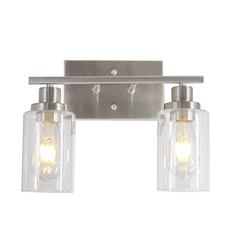 MELUCEE Metal Wall Lights with Clear Glass Shade 2 Heads Bathroom Light  Fixtures Brushed Nickel Modern Vanity Lights Sconces for Hallway Bedroom ...