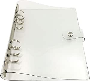 Chris.W 1Pack Transparent Soft PVC 6-Ring Binder Cover w/Snap Button Closure for Ring-Bound Planner Pages, A5 Size(Inner Paper Not Included)