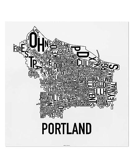Portland Oregon Map Of Neighborhoods.Amazon Com Portland Neighborhoods Map Art Poster White Black 18