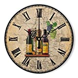wine and grape kitchen clock - Retro Grape Wine Wall Clock Gift for Girls Beautiful Design Silent 12 inch Wood Clock for Home Decorative