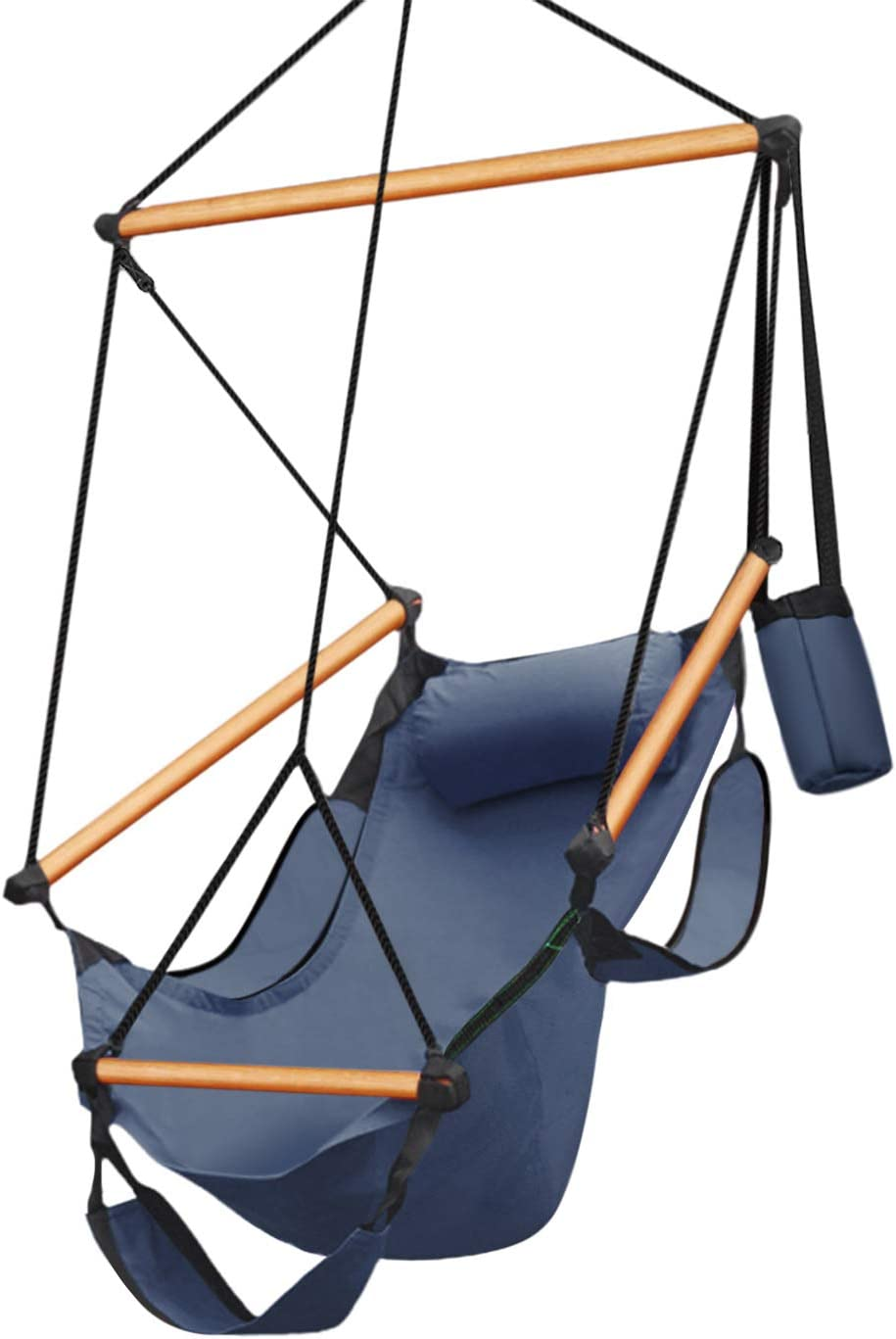 Flexzion Hanging Rope Hammock Chair (Blue) Air Deluxe Sky Swing Outdoor Seat Solid Wood 250lb with Pillow Arm Arrest Footrest and Drink Holder for Patio Furniture Camping Travel Porch Lounge