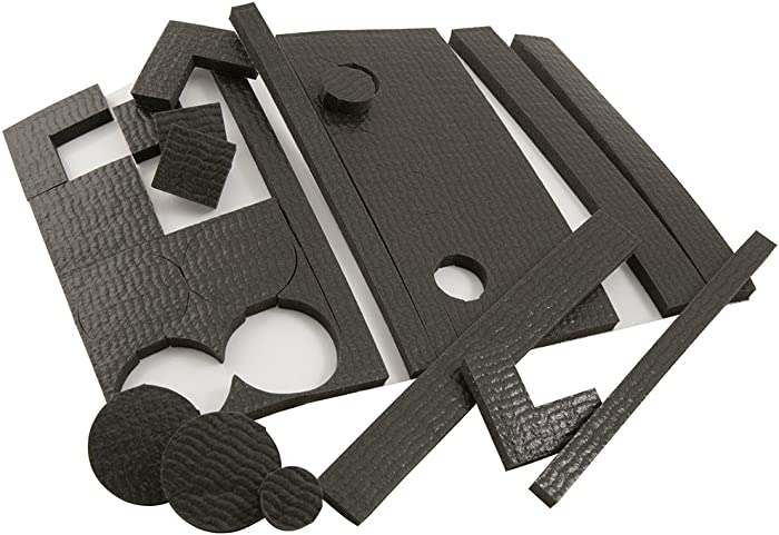 SoftTouch 4733595N Non Slip Furniture Self Stick Gripper Pads for Hardwood or Hard Surface Flooring, Assorted Shapes, Black