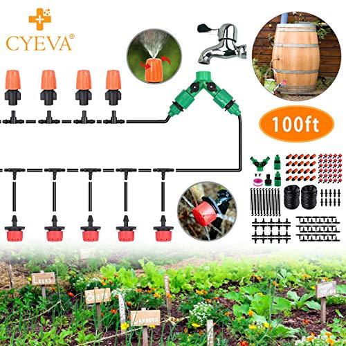 CYEVA 100ft Rain Barrel Drip Irrigation Kit with Y Shape 2-Way Splitter, 1/4