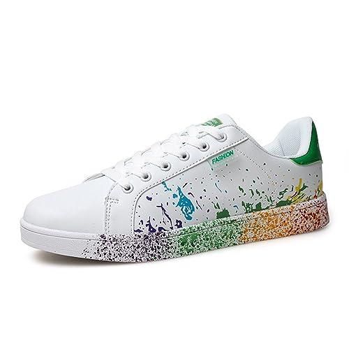 XIANV Zapatos para niñas Colores de Mezcla Estilo de Pintura de Tinta Zapatos de Mujer Zapatos de Mujer de Colores Blanco Zapatillas para Parejas: ...