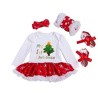 5bcae2e67fb67 YuanDiann Bébé Fille 4 Pcs Déguisement Noël Vêtement de Baptême Nouveau Né Habit  De Noel Enfant