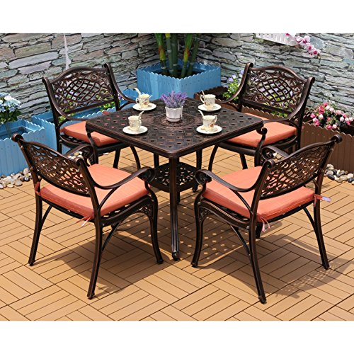 31 Inch Antique - Yongcun Outdoor Patio Furniture Cast Aluminum Dining Set Patio Dining Table Chair Color is Antique Bronze One 31