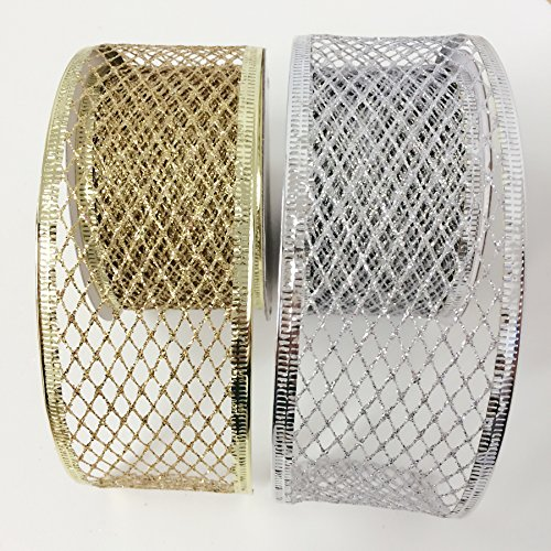 4 Rolls Assorted Patterns Classic Christmas Decorations Ribbons (2''W x 9FT Each) , Gold/Silver by Christmas Elegance (Image #2)