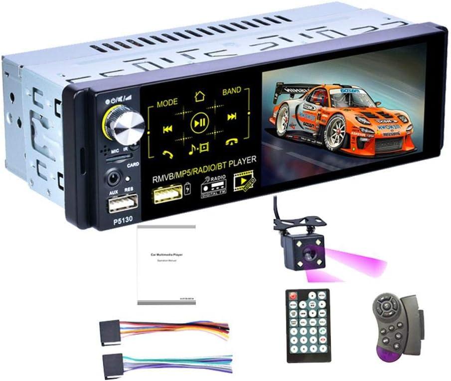 ZSLGOGO | 1 DIN Radio Coche Bluetooth Manos Libres, Autoradio Bluetooth Coche, Reproductor Multimedia, Pantalla táctil capacitiva de 4.1 Pulgadas, Radio Am/FM/RDS, cámara Trasera IR