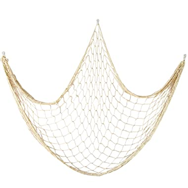 Cotton Fishing Net Decor 79 Inch Beach Style Decor for Nautical Mermaid Bedroom and Party, Home Room Wall Decoration Fish Net