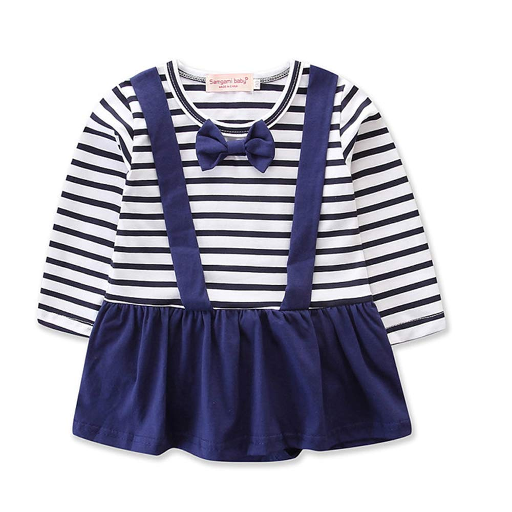 Baby Girls Boys One Piece Long Sleeve T Shirts and Suspenders Overall Dress Pants with Tie Outfits