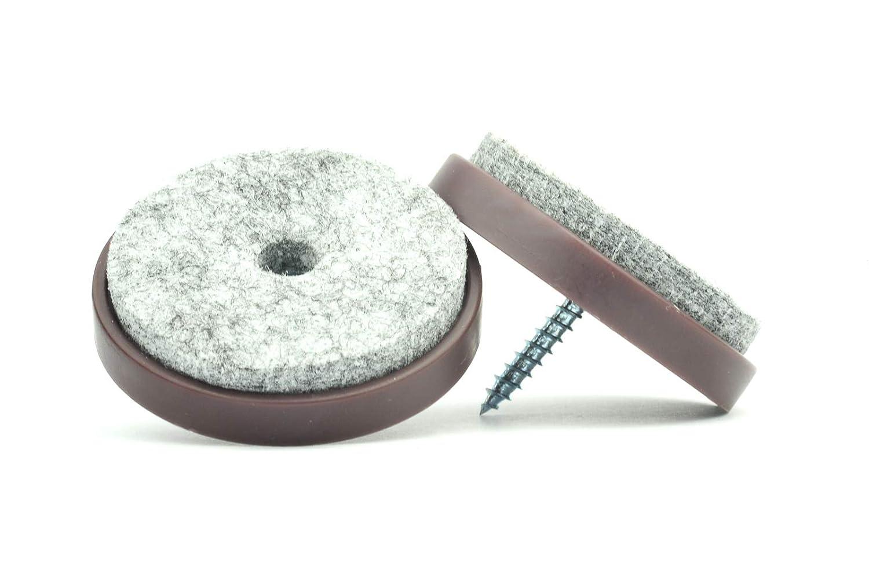 24 Fabricadas en Alemania 28 Tama/ños disponibles: 20 Almohadillas de fieltro y pl/ástico con tornillo de cabezal empotrable para muebles y sillas de mesa 40 mm de di/ámetro