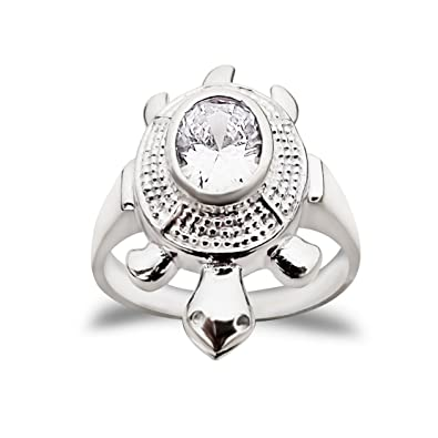 aa68b880e MJ White 92.5 Sterling Silver Cz Embellished Tortoise Finger Ring for Men  and Women