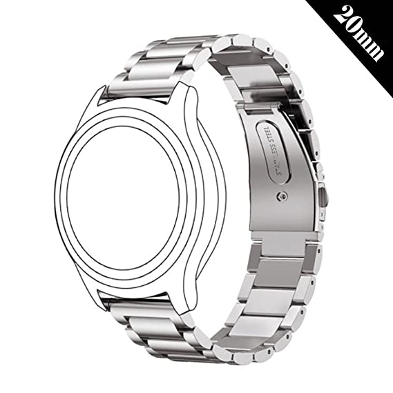 Antube 20mm Women Men Solid Stainless Steel Watch Band Replacement Bracelet Strap for Huawei Watch 2 Sport, Ticwatch 2, Samsung Gear S2 Classic/Sport, ...