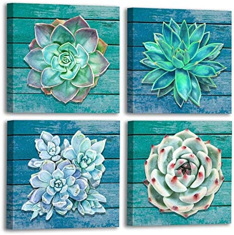 FATEECHO Succulent Wall Art Prints Modern Green Plants and Flower Painting Vintage Wood Background Picture