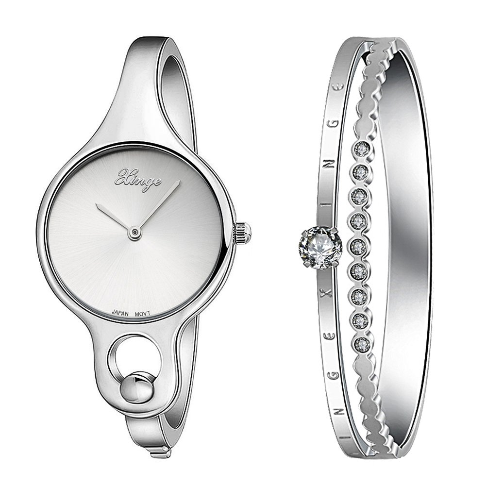 Xinge Women's Bangle Watches and Stainless Steel Bracelet Set with Crystals Silver W3678-S