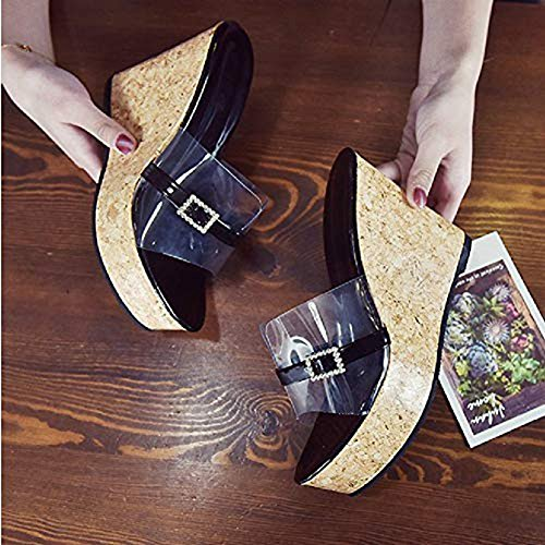 Sandals Wedges Shoes Sexy JULY Slides Dress Diamond Peep Transparent Slip Black T Toe Platform Roman on Women wZYxqAn5