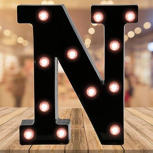 Light up Black Alphabet Marquee Letters Sign LED Letter Lights for Home Bar Festival Birthday Party Wedding Decorative (Black Letter N)