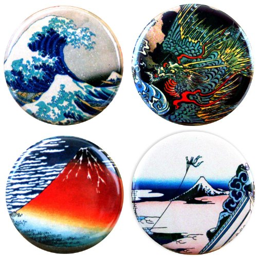 Buttonsmith Katsushika Hokusai Japanese Art Refrigerator Magnet Set Featuring Great Wave - Made in the USA