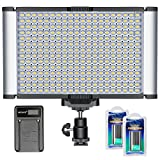 Neewer Dimmable Camera Video Light Kit:280 LED Panel CRI 96+ Single Color,2 Pieces Rechargeable Li-ion Battery and USB Charger for Canon Nikon DSLR for Photo Studio Photography,YouTube Video Shooting