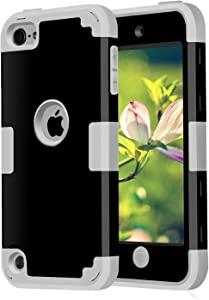 Case for iPod Touches Cases 6th Generation for iPod Touch 5 6 Case, CheerShare Dual Layered 3 in 1 Case for iPod Touch 5 6th Generation (Black + Gray)